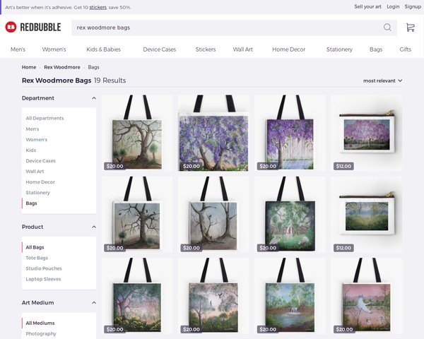 redbubble - Rex Woodmore Bags